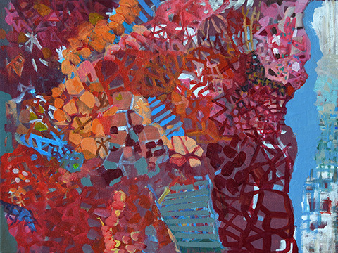 Abstract painting of corals by Grazyna Adamska Jarecka