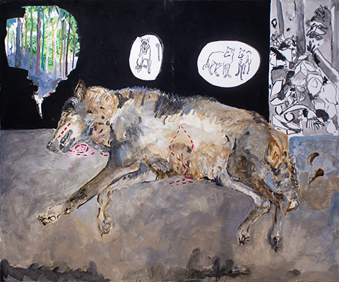 Painting of a dead wolf by Grazyna Adamska Jarecka