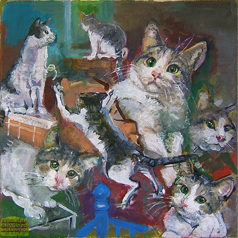 Painting of a cat by Grazyna Adamska Jarecka