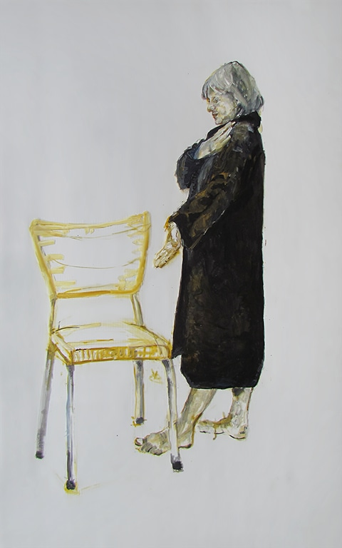 Painting of a woman standing in a black robe, facing a chair. by Grazyna Adamska Jarecka