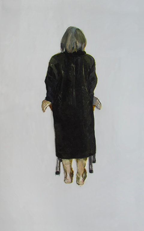 Painting of a woman in a black robe surrounded by empty space. by Grazyna Adamska Jarecka