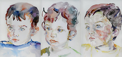 Portrait painting of three young boys by Grazyna Adamska Jarecka