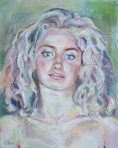 Portrait painting of a young woman with blonde hair by Grazyna Adamska Jarecka