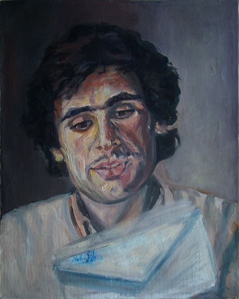 Portrait painting of a man with dark hair by Grazyna Adamska Jarecka