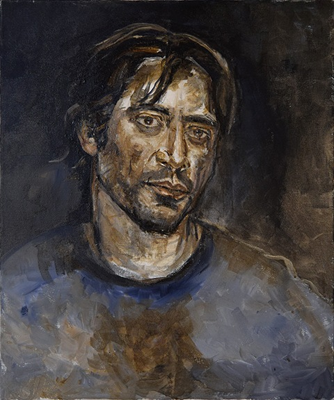 Portrait painting of Javier Barden by Grazyna Adamska Jarecka