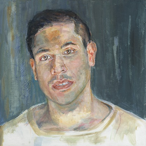 Portrait painting of a young man. by Grazyna Adamska Jarecka