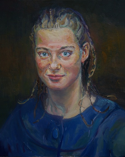 Portrait painting of a young woman. by Grazyna Adamska Jarecka