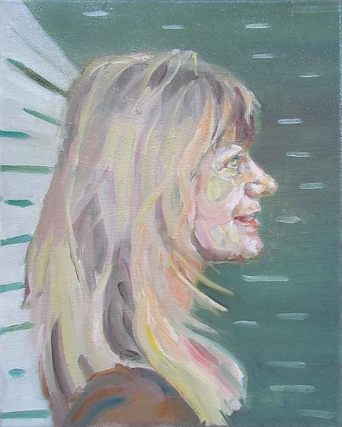 Self-portrait painting of a woman. by Grazyna Adamska Jarecka