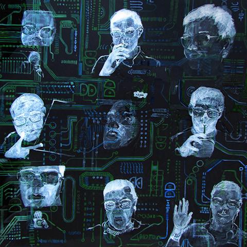 Portrait depicting conversations over Skype. by Grazyna Adamska Jarecka