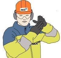 Illustration på en byggarbetare som gör tecknet