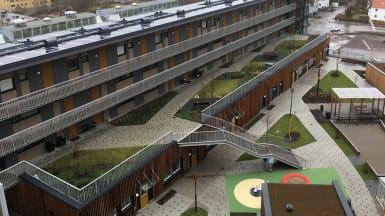Illustration över nya bostadsrätter byggda ovanpå Mölndals galleria.