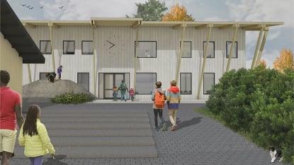 Illustration på Björkö skolas framsida