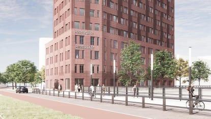 Illustration över den nya byggnaden i Hyllie på markplan.