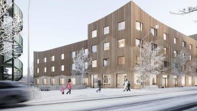 Snöig illustrationsbild på nya vård- och omsorgsboendet i Östersund.