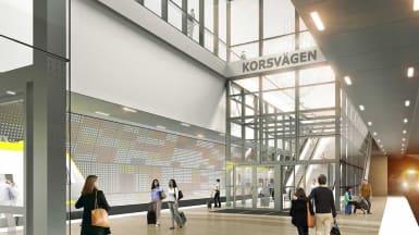 Illustration på station Korsvägen, en del av Västlänken.