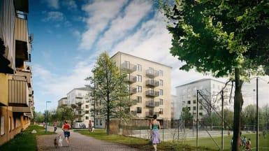 Illustration över de nya s.k. Stockholmshusen, här i Tensta.