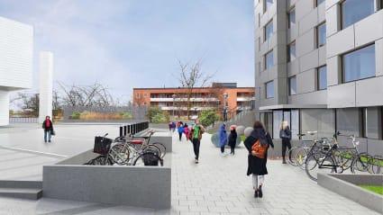 Konceptbild på torget nedanför Rinkeby polisstation.