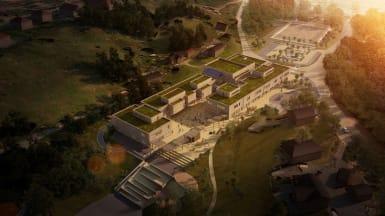 Aerial photo of Ulsmåg School in Bergen, Norway, during the dawn.
