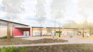 Illustration of the new Laukaa Eco School in Savio, Tarvaala.