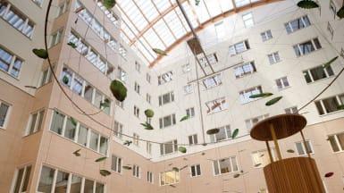 Bild på Västerås Lasaretts innergård, med en takkrona/skulptur av stora blad och trådar. Husfasaden är varianter av beige.