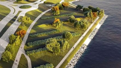 3D-bild på en park med gångvägar som skär genom, två vägar till vänster och strandkanten till höger.