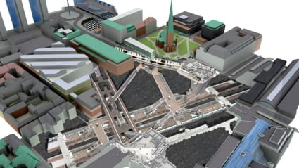 Illustration över hur Citybanan är placerad under Stockholms gator.