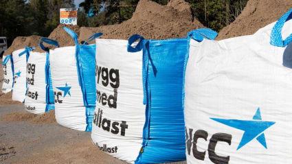 Bild på en lång rad med NCC:s stora säckar fyllda med sand. på säckarna står texten