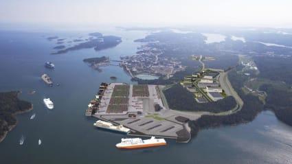 Illustration över hur nya Norvik kan se ut, med en stor containerhamn och båtar som angör.