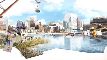 Kreativ konceptbild på hur Frihamnen i Göteborg kan komma att se ut.