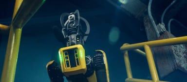 Robothund blickar nedför en ståltrappa.