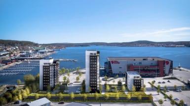 Visionsbild över nya bostadsrätter i Framnäsudden, Örnsköldsvik.