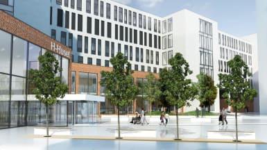 Illustration på nya universitetssjukhuset i Örebro med vit fasad, smala fönster och en reflektiv pool.