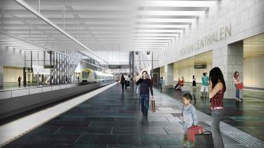 Illustration på hur station Centralen i Göteborg, en del av Västlänken, kan komma att se ut. Rymlig inomhusstation med liv och rörelse.