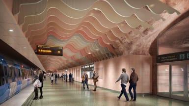 Visionsbild av nya Hagastadens plattform. Bild: Region Stockholm /&Rundquist/3D HOUSE