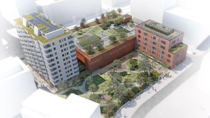 Illustration över nya kvarteret Masthusen i Malmö.