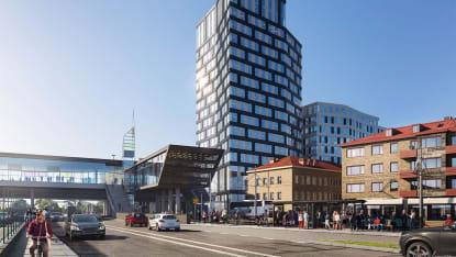 Illustration över den nya kontorsbyggnaden i Mölndals innerstad.