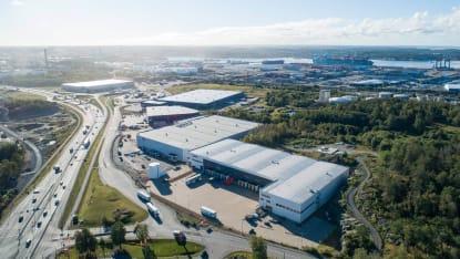 Flygbild över nya Arendal Green Park, Göteborg.