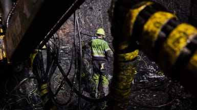 Picture of a worker inside one of the subsea tunnels in the Faroe Islands.