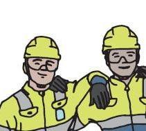 Illustration på tre byggarbetare som håller varandra om ryggen.