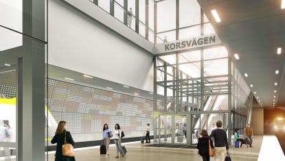 Illustration på station Korsvägen, en del av Västlänken. Illustration: Trafikverket/White Arkitekter