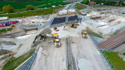 Flygbild över arbete som pågår med fyrspåret Malmö-Lund.