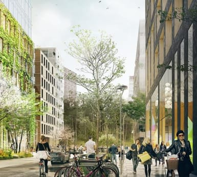 Illustration of a lush and busy street in the new Järva Krog developments.