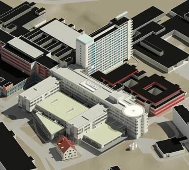 3D-illustration över Nyköpings lasarett.