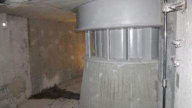 Gamla turbiner i Långgölsmöla kraftstation.