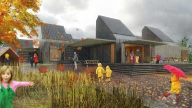 Illustration of the new Kistefossdammen pre-school in