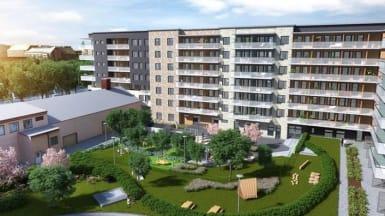 Illustration på hur bostadsrätterna kan se ut. Sexvåningshus med en lummande innergård och lekplatser.