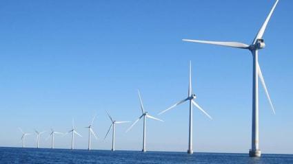 Flera vindkraftverk i rad sticker upp ur sjön utanför Öland.