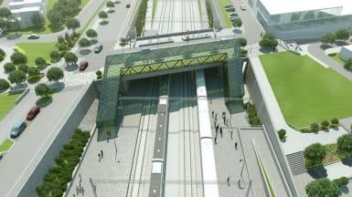 Illustration of Hjärup station, part of the four track solution between Lund - Arlöv.
