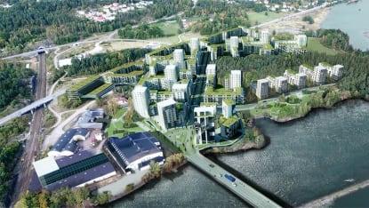 Illustration i form av flygliknande foto över stadsdelen Vårvik, Trollhättan.
