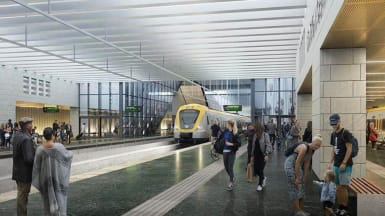Illustration of the new Centralen station, part of the West Link in Gothenburg.
